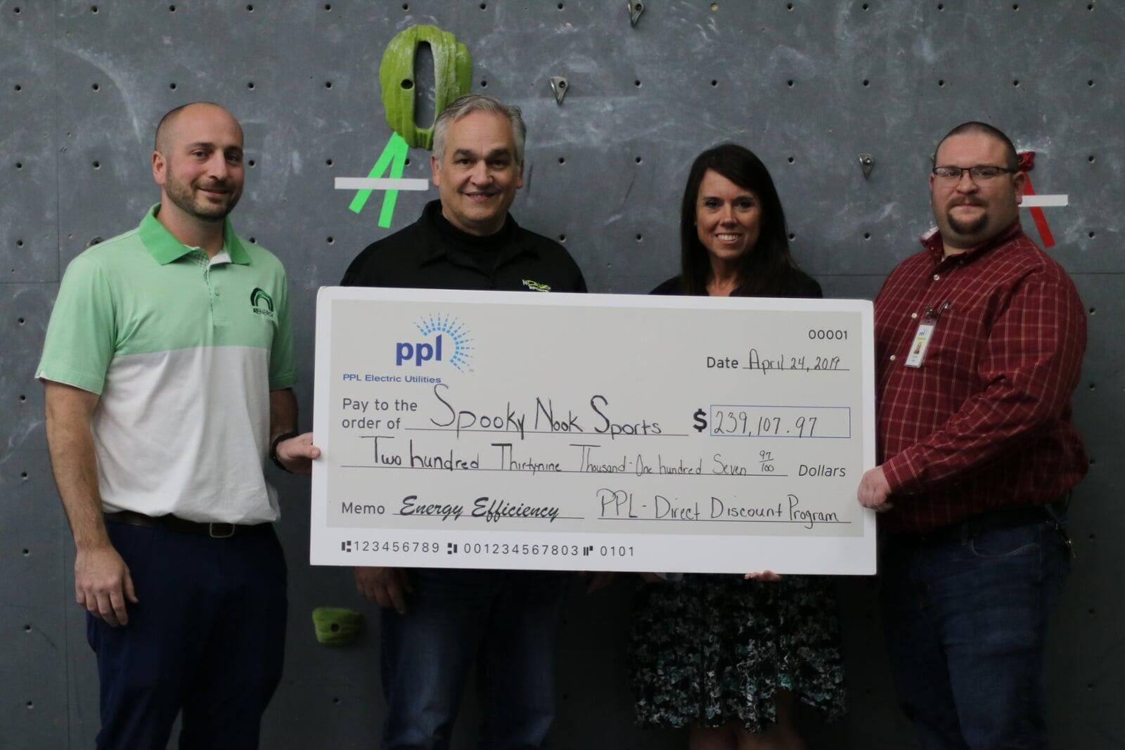 Spooky Nook Sports LED rebate check presentation